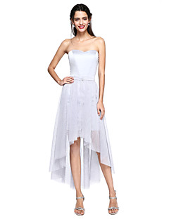 גזרת A לב (סוויטהארט) א-סימטרי שיפון שמלה לשושבינה  עם סרט על ידי LAN TING BRIDE®