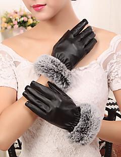 kvinners pu kaninpels håndleddet lengde fingertuppene legge ull opprørt søt / fest / uformell vinter mote varme hansker