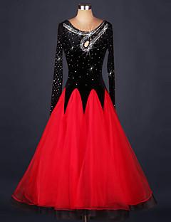 Standardní tance Šaty Dámské Výkon Organza / Samet Křišťály / Bižuterie / Barevně dělené Jeden díl Dlouhé rukávy Přírodní ŠatyS-XXL: