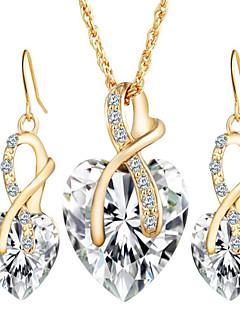 Naisten Korusetti Pisarakorvakorut Riipus-kaulakorut Kristalli jäljitelmä Diamond Love pukukorut Eurooppalainen Morsius Tyylikäs Kristalli
