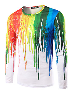 Men's Casual/Daily Simple All Seasons T-shirt,Rainbow Round Neck Long Sleeves Cotton Thin