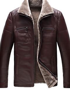 男性 お出かけ / パーティー / ホリデー 冬 ソリッド レザージャケット,シンプル シャツカラー ブラウン ポリウレタン 長袖 厚手