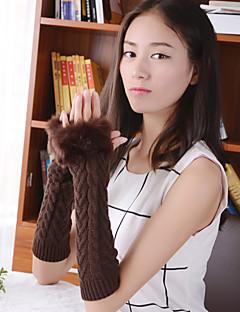 kvinners enkle fuzzy geometrisk strikkevarer albue lengde halv finger søt / fest / uformell vinter mote varme hansker