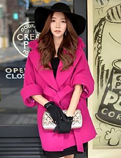 Feminino Casaco Para Noite / Casual / Férias Fofo / Moda de Rua / Sofisticado Outono / Inverno, Sólido Vermelho Lã / PoliésterLapela