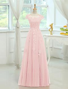 družička šaty s podlahovou délkou satén / tylu - plášť / sloup kopeček s aplikací / broušení xiangyouyayi
