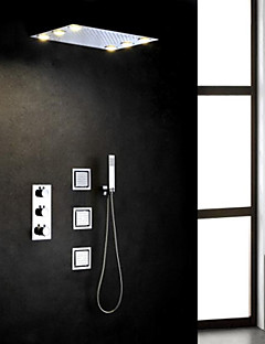 Contemporan Duș Ploaie Împrăștiat Duș De Mână Inclus Termostatic LED with  Valvă de Alamă Trei Mânere Cinci Găuri for  Crom , Robinete de