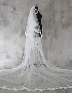 Véus de Noiva Duas Camadas Véu Ombro Véu Cotovelo Véu Ponta dos Dedos Véu Capela Véu Catedral Borda com aplicação de Renda Tule Renda