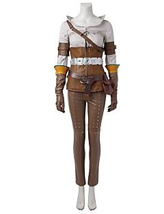 Inspireret af Snigmorder Ace video Spil Cosplay Kostumer Cosplay Kostumer Cosplay Toppe / Underdele Patchwork Brun GuldSkjorter Hakama