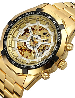 FORSINING Herren Modeuhr Armbanduhr Mechanische Uhr Automatikaufzug Transparentes Ziffernblatt Edelstahl Band Luxuriös GoldGold Weiß