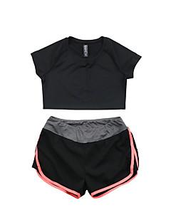 Mulheres Conjunto de Shorts e Camiseta de Corrida Manga Curta Secagem Rápida Respirável Camiseta Conjuntos de Roupas para Ioga Exercício