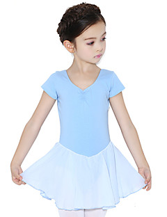 Ballet Jurken Kinderen Opleiding Katoen Ruches 1 Stuk Korte Mouw Natuurlijk Kleding