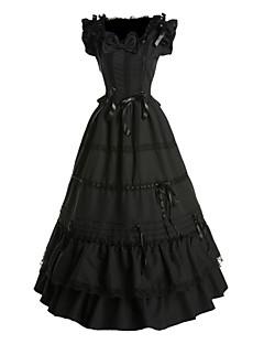 Yksiosainen/Mekot Gothic Lolita Vintage-kokoelma Cosplay Lolita-mekot Musta Vintage Perhonen Hihaton Pitkä Pituus Leninki varten Puuvilla