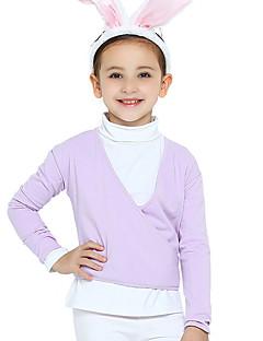 Ballet Outfits Kinderen Opleiding Katoen Kriskras 2-delig Lange Mouw Natuurlijk Gympak Jas