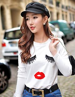 Langærmet Rund hals Solid Medium Damer Trykt mønster Farveblok Forår Efterår Simpel Gade Aktiv Ferie I-byen-tøj Afslappet/Hverdag T-shirt,