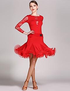ריקוד לטיני תלבושות בגדי ריקוד נשים ביצועים תחרה ויסקוזה קפלים 2 חלקים שרוול ארוך טבעי בגד גוף חצאית