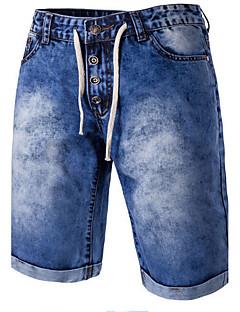 男性 スリム ジーンズ ショーツ パンツ,カジュアル/普段着 ビーチ シンプル カラーブロック ミッドライズ ジッパ- ボタン コットン ポリエステル マイクロ弾性 夏