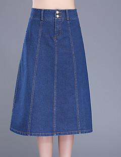 Übergrössen Röcke,A-Linie einfarbig Jeansstoff,Ausgehen Lässig/Alltäglich Einfach Niedlich Hohe Hüfthöhe Midi Reisverschluss Knopf Others
