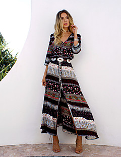 Women's Beach Holiday Boho A Line Dress,Print V Neck Maxi Long Sleeves Cotton Summer Inelastic