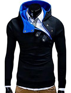 Hattetrøje Herre Fritid/hverdag Sport Ensfarget Skjortekrage Bomull Mikroelastisk Langermet Vår Høst
