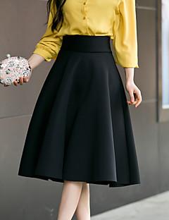 Damer I-byen-tøj Afslappet/Hverdag Knælængde Nederdele A-linje Ensfarvet Forår Sommer