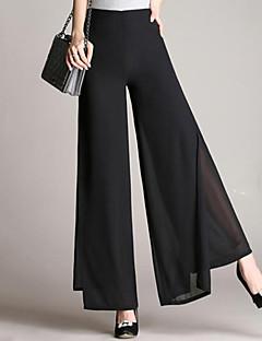 Ženske Wide Leg Klasične hlače Aktivan Jednostavan Visoki struk Mikroelastično Sportske hlače Chinos Hlače Chiffon Jednobojni