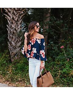 Femme Epaules Dénudées Tee-shirt,Couleur Pleine Soirée Sexy Eté Manches Courtes Col en V Soie Transparent Translucide
