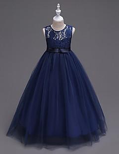 φόρεμα φόρεμα κορίτσι λουλούδι μήκος φορέματα κορίτσι λουλουδιών - organza αμάνικο λαιμό κόσμημα με κορδέλα από ydn
