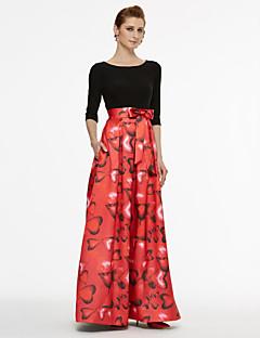 Γραμμή Α Με Κόσμημα Μακρύ Σατέν Ζέρσεϊ Φόρεμα Μητέρας της Νύφης - Φιόγκος(οι) Ζώνη / Κορδέλα Πλισέ με LAN TING BRIDE®