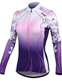 SANTIC Maillot de Cyclisme Femme Manches Longues Vélo Maillot Veste Hauts/Tops Garder au chaud Séchage rapide Résistant aux ultraviolets