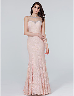Mermaid Trumpet Jewel Neck Floor Length Lace Formal Evening Dress With Crystal Detailing By Ts