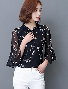 Damen Geometrisch Einfach Lässig/Alltäglich Hemd,Rundhalsausschnitt Langarm Kunstseide