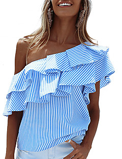 Women's Off The Shoulder Casual/Daily Holiday Sexy Street chic Layered Ruffle Backless Summer Fall T-shirtStriped One Shoulder Short Sleeve Medium