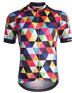Fastcute Maillot de Cyclisme Homme Manches Courtes Vélo Maillot Hauts/Tops Séchage rapide Zip frontal Respirable Anti-transpiration Poche