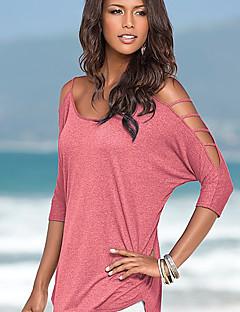 Feminino Camiseta Casual Simples Sólido Algodão Com Alças Manga Longa