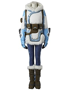 Inspireret af Overwatch Ace video Spil Cosplay Kostumer Cosplay Kostumer Prikker Hvid Blå Langt ÆrmeJakke Bukser Hovedstykke Handsker