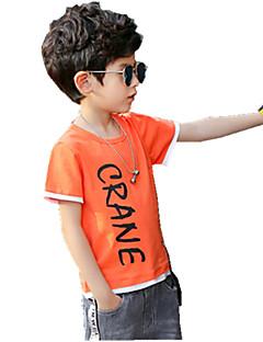 Jungen T-Shirt Einheitliche Farbe Blumen Baumwolle Leder Sommer Ganzjährig Kurzarm Normal