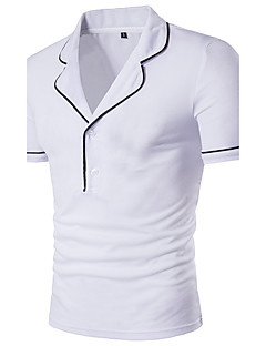 Men's Personality  Turn Down Collar Fashion Short Sleeved T-Shirt Cotton Spandex Medium/Plus Size Casual/Daily Simple