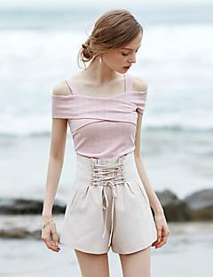 Feminino Vintage Simples Cintura Alta Inelástico Perna larga Shorts Calças,Perna larga Sólido