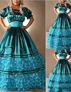Uma-Peça/Vestidos Gótica Lolita Cosplay Vestidos Lolita Azul Vintage Concha Manga Curta Comprido Vestido Para Outro