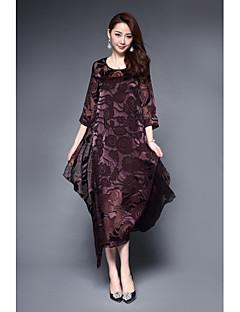 Damer Vintage Kineseri Fest I-byen-tøj Løstsiddende Kjole Trykt mønster,Rund hals Asymmetrisk 3/4-ærmer Silke Sommer Alm. taljede