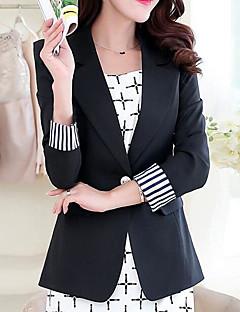 Damen Solide Einfach Lässig/Alltäglich Blazer,Gekerbtes Revers Frühling Lange Ärmel Standard Polyester