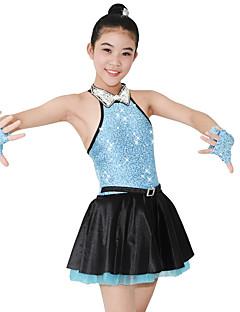 Jazz Vestidos Mulheres Crianças Actuação Elastano Cetim Lantejoulas 4 Peças Sem Mangas Natural Vestido Luvas Neckwear