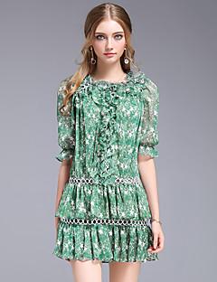 Kadın Dışarı Çıkma Günlük/Sade Sade Salaş Elbise Desen,Kısa Kollu Yuvarlak Yaka Diz üstü Polyester Yaz Normal Bel Esnemez Orta