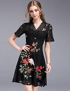 Kadın Parti Dışarı Çıkma Vintage Sokak Şıklığı A Şekilli Kılıf Elbise Nakışlı,Kısa Kollu V Yaka Diz üstü Pamuklu Polyester Diğer Yaz