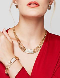 Γυναικεία Σετ Κοσμημάτων Κολιέ Δήλωση Βραχιόλι Σκουλαρίκι Δαχτυλίδι Κοσμήματα Επιχρυσωμένο 18K χρυσό Μοντέρνα Κοσμήματα με στυλ κοστούμι