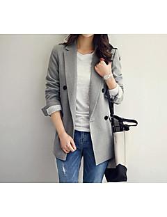 Damen Solide Einfach Lässig/Alltäglich Blazer,Hemdkragen Herbst Lange Ärmel Standard Baumwolle