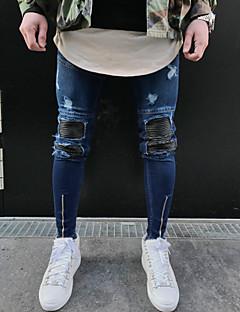 Masculino Simples Moda de Rua Cintura Média Micro-Elástica Justas/Skinny Calças,Skinny Outro