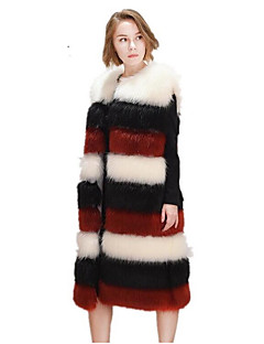 Dames Eenvoudig Herfst Winter Vest,Grote maten Effen Ronde hals Mouwloos Lang Vossenbont