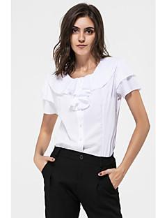 Damen Solide Einfach Lässig/Alltäglich Hemd,Rundhalsausschnitt Sommer Kurzarm Kunstseide
