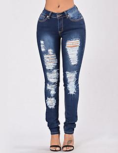 Damskie Seksowna Moda miejska Rozciągliwe Jeansy Spodnie,Wysoki stan Obcisłe,Podarte Jendolity kolor